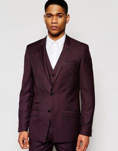 River Island Suit Jacket In Skinny Fit In Burgundy