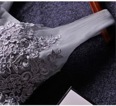 Cute A-line grey lace short prom dress,homecoming dresses - Thumbnail 3