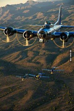 B-17 flying with his little friends.