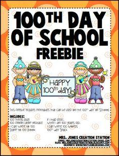 Mrs. Jones' Creation Station: 100th Day of School Freebie