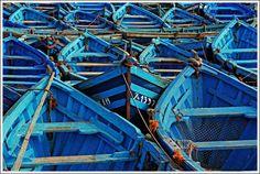 Blue fishing boats of Essaouira, Morocco. (Photo by Zé Eduardo.)