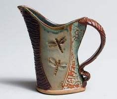Hand-built Stoneware Dragonfly Pitcher on Etsy, $45.00