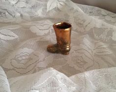 Copper Metal Boot Matchstick or Toothpick Holder Collectible - Copper
