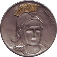 Hobo nickel by Jon Dake, gold inlay. Hobo Nickel, Roman Soldiers, Modern Love, Classic Style, Coins, Copper, Carving, History, Buffalo