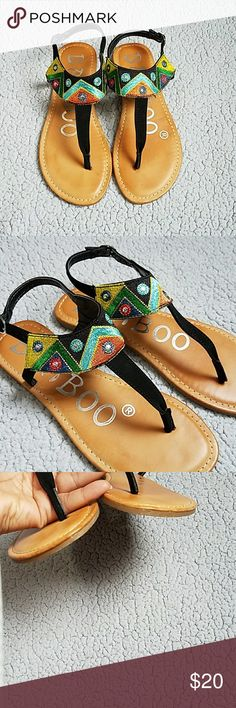 Bamboo Embroidery T-strap Multicolor Sandal Colors: yellow, Green, orange, light blue and black. Silver metal accents add beautiful detail. The upper is a velvet soft material. SEQUOIA 66. Perfect sandal to dress up or down. NO BOX.  TRIED ON ONLY. No scratches. Sz: 7 Bamboo Shoes Sandals