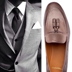 Classic 3 Pc Suit And The Elegant Combo Grey, White & Black With Brown Shoes & Belt