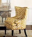 Wing back chair in bold print