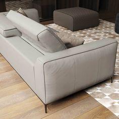 Adjule Headrest Gray Leather Sofa Modern Style Interior Design