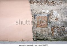 Old and new wall - stock photo