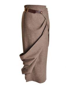 Long Wrap Tweed Skirt by alice29
