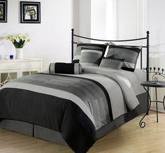 Amazon.com: Chezmoi Collection 7 Pieces 3-tone Black Gray Embroidery Comforter Set / Bed-in-a-bag Queen Size Bedding: Bedding & Bath