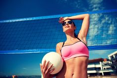 Polarized lenses do not offer better UV protection but they improve your vision in high glare environments when performing outdoor activities, e. at the beach. Uv Sunglasses, Polarized Sunglasses, Sports Glasses, Big Face, Beach Volleyball, Bikinis, Swimwear, Stock Photos, Female