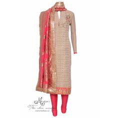 Dazzling beige attractive hand embroidery complemented with woven dupatta-Mohan's the chic window