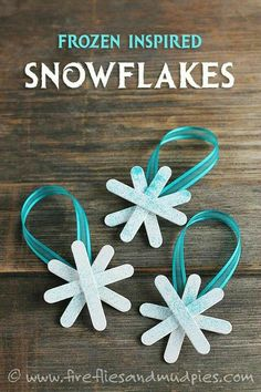 Frozen Inspired Snowflake Ornaments - Fireflies and Mud Pies Kids Christmas Ornaments, Snowflake Ornaments, Christmas Crafts For Kids, Craft Stick Crafts, Homemade Christmas, Christmas Projects, Holiday Crafts, Christmas Holidays, Diy Crafts