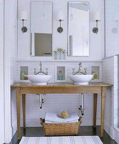 Repurposed Bathroom Vanity - Design photos, ideas and inspiration. Amazing gallery of interior design and decorating ideas of Repurposed Bathroom Vanity in bathrooms by elite interior designers. Diy Bathroom Vanity, Bathroom Styling, White Bathroom, Bathroom Fixtures, Bathroom Ideas, Simple Bathroom, Bathroom Designs, Bathroom Modern, Bathroom Interior