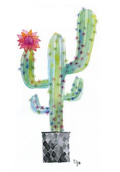 Cactus Original Watercolor Painting/Botanical Art/Cactus.