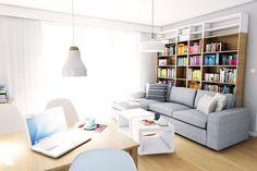 Расположение квартиры по адресу ул. Малый город в Гданьске - Небольшая гостиная с bibiloteczką столовой, современный стиль - изображение дизайн-студия MONO