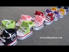"Tutorial uncinetto - le scarpine bebè modello ""All Star"" - baby booties crochet - zapatitos crochet - YouTube"