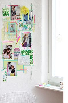 Very creative inspiration wall with mint and pink Washi tape.