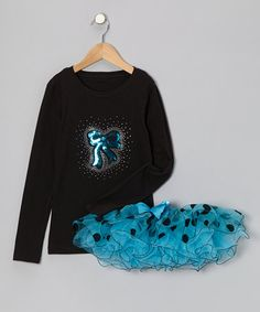 Take a look at this Black Bow Tee & Turquoise Tutu - Infant, Toddler & Girls by So Girly & Twirly on #zulily today!