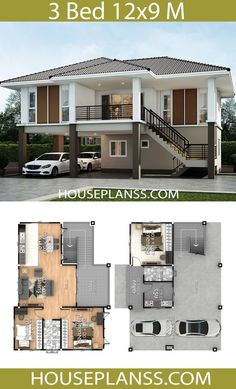 House Plans Design Idea with 3 bedrooms - House Plans Sam Bungalow House Plans, Bungalow House Design, Bedroom House Plans, Dream House Plans, Small Modern House Plans, Beautiful House Plans, Contemporary House Plans, 2 Storey House Design, Small House Design