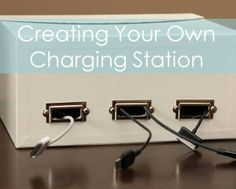 """Posted by Sabrina on """"Sabby in Suburbia"""": Create your own charging station & tame that unsightly clump of cords and plugs from those """"can't-live-without"""" household gadgets!"""