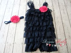 Navy Blue Ruffle Lace Petti Romper with Hot Pink Headband Set - Baby Infant Toddler - Photo Prop Satin Lace Newborn - 2T, 3T, 4T, 5T on Etsy, $24.95