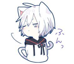 Mafumafu Sticker (cat) – LINE stickers Anime Neko, Anime Cat Boy, Neko Boy, Chibi Boy, Cute Anime Chibi, Fanarts Anime, Cute Anime Guys, Anime Characters, Manga Anime