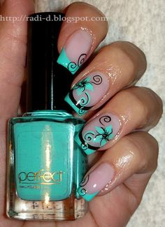 Turquoise French Flower Nail Art ♡❦♡ Change the black for chocolate brown Swirls in an amber shimmer.