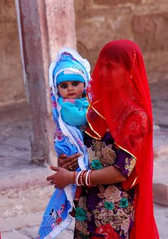 Colorful Mother and Child , India