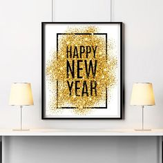 Happy new year print New year 2018 party decor New year printable New year wall decor Gold glitter print New year card New year printable