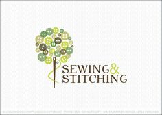 Company logo for sale: Cute button tree with the sewing needle ...