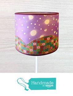 Pantalla de lámpara de seda pintada a mano, con aplicaciones en tela de algodón…