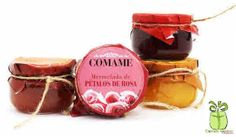 Mermeladas para regalos de boda. Deliciosas variedades (pétalos de rosa, frambuesa, naranja y tomate). En tarro de cristal de 5cm x 7cm.