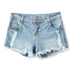 Broken Hole Low Waisted Denim Shorts ($16) ❤ liked on Polyvore featuring shorts, bottoms, pants, denim, denim shorts, denim short shorts, low waist shorts, low waist denim shorts and jean shorts