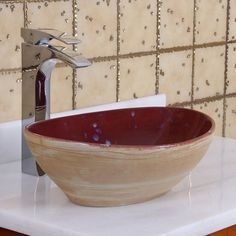 Elite 1563 Oval Ruby Glaze Porcelain Ceramic Bathroom Vessel Sink