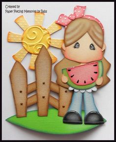Sweet Summer Girl Set Premade Paper Piecing Die Cut for Scrapbook Page by Babs