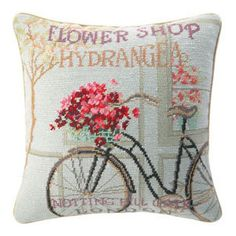 Image detail for -Bicycle in London Pillow - Shabby Cottage - What's Your Design Style ...