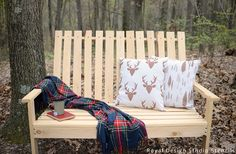 Easy DIY Painted Decorative Pillows Project - Outdoor Pillows from Drop Cloth DIY | Outdoor Nature Deer and Tree Stencils by Royal Design Studio