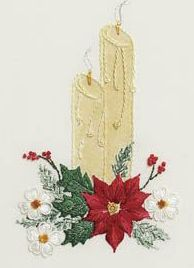 Christmas Candle Embroidery Kit available from Australian Needle Arts. http://www.australianneedlearts.com.au/delma-moore
