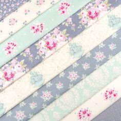 Tilda The Corner shop fabric pack x 10 / quilting rose dot duck egg blue grey   eBay