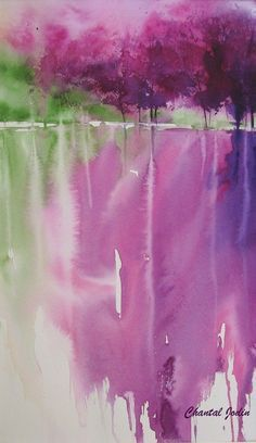 Watercolor by Chantal Jodin looks like they basically just ran the colors down to give a reflection effect Watercolor Techniques, Art Techniques, Watercolor Landscape, Watercolor Paintings, Watercolors, Watercolor Scenery, Abstract Watercolor, Tree Art, Painting Inspiration