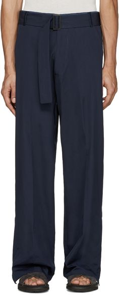 Umit Benan: Navy Belted Baggy Trousers | SSENSE