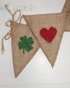Dual purpose! -Valentine Decoration - Reversible Burlap Banner for Valentines Day and St. Patricks Day - LOVE & LUCK.