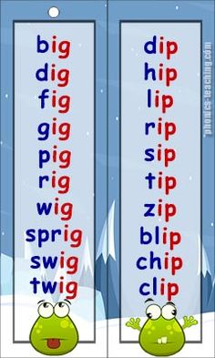 ig words ip words - Free Printable Phonics Word List - Ideal for phonics practice or phonics revision.