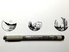 Landscape doodles in circles