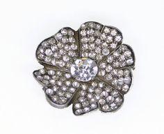 Vintage Eisenberg Original Fur / Dress Clip - Clear Rhinestone Pansy Flower Brooch
