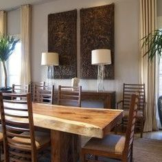 Earthy dinning room with a beautiful dinning table. Contemporary dining room by Joel Kelly Design