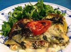 Lakselasagne med spinat, tomat, ricotta og gorgonzola