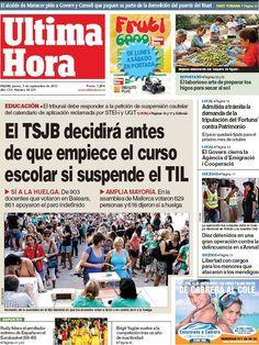 Los Titulares y Portadas de Noticias Destacadas Españolas del 5 de Septiembre de 2013 del Diario Ultima Hora ¿Que le pareció esta Portada de este Diario Español?